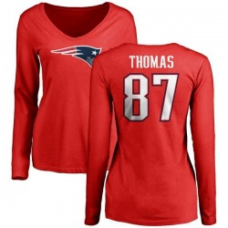 Women's Demaryius Thomas New England Patriots Name & Number Logo Slim Fit Long Sleeve T-Shirt - Red