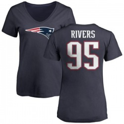 Women's Derek Rivers New England Patriots Name & Number Logo T-Shirt - Navy