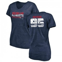 Women's Derek Rivers New England Patriots Retro Tri-Blend V-Neck T-Shirt - Navy