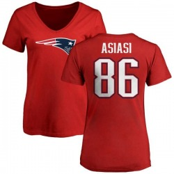 Women's Devin Asiasi New England Patriots Name & Number Logo Slim Fit T-Shirt - Red