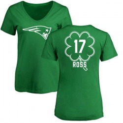 Women's Devin Ross New England Patriots Green St. Patrick's Day Name & Number V-Neck T-Shirt