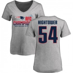 Women's Dont'a Hightower New England Patriots 2017 AFC Champions V-Neck T-Shirt - Heather Gray