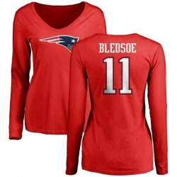 Women's Drew Bledsoe New England Patriots Name & Number Logo Slim Fit Long Sleeve T-Shirt - Red