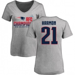 Women's Duron Harmon New England Patriots 2017 AFC Champions V-Neck T-Shirt - Heather Gray