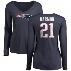 Women's Duron Harmon New England Patriots Name & Number Logo Slim Fit Long Sleeve T-Shirt - Navy