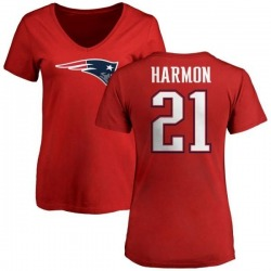 Women's Duron Harmon New England Patriots Name & Number Logo Slim Fit T-Shirt - Red