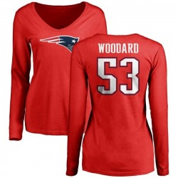 Women's Dustin Woodard New England Patriots Name & Number Logo Slim Fit Long Sleeve T-Shirt - Red
