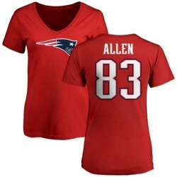 Women's Dwayne Allen New England Patriots Name & Number Logo Slim Fit T-Shirt - Red