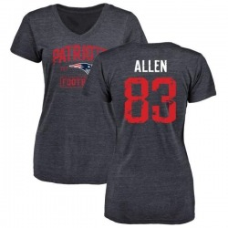 Women's Dwayne Allen New England Patriots Navy Distressed Name & Number Tri-Blend V-Neck T-Shirt
