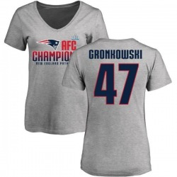 Women's Glenn Gronkowski New England Patriots 2017 AFC Champions V-Neck T-Shirt - Heather Gray