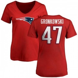 Women's Glenn Gronkowski New England Patriots Name & Number Logo Slim Fit T-Shirt - Red