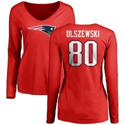 Women's Gunner Olszewski New England Patriots Name & Number Logo Slim Fit Long Sleeve T-Shirt - Red