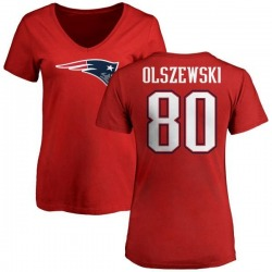 Women's Gunner Olszewski New England Patriots Name & Number Logo Slim Fit T-Shirt - Red