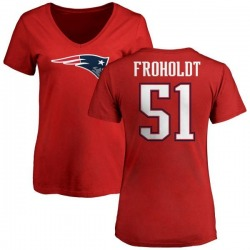 Women's Hjalte Froholdt New England Patriots Name & Number Logo Slim Fit T-Shirt - Red