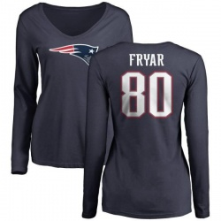 Women's Irving Fryar New England Patriots Name & Number Logo Slim Fit Long Sleeve T-Shirt - Navy