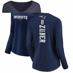 Women's Isaiah Zuber New England Patriots Backer Slim Fit Long Sleeve T-Shirt - Navy