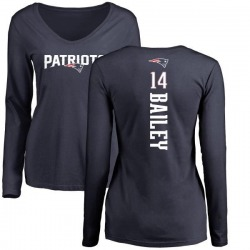 Women's Jake Bailey New England Patriots Backer Slim Fit Long Sleeve T-Shirt - Navy
