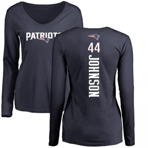 Women's Jakob Johnson New England Patriots Backer Slim Fit Long Sleeve T-Shirt - Navy