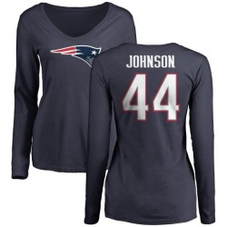 Women's Jakob Johnson New England Patriots Name & Number Logo Slim Fit Long Sleeve T-Shirt - Navy
