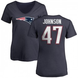 Women's Jakob Johnson New England Patriots Name & Number Logo T-Shirt - Navy