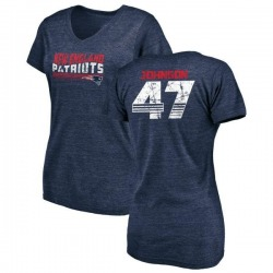 Women's Jakob Johnson New England Patriots Retro Tri-Blend V-Neck T-Shirt - Navy