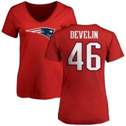 Women's James Develin New England Patriots Name & Number Logo Slim Fit T-Shirt - Red
