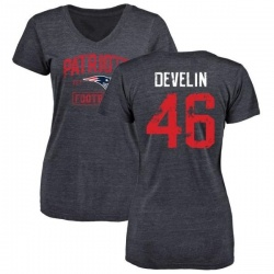 Women's James Develin New England Patriots Navy Distressed Name & Number Tri-Blend V-Neck T-Shirt