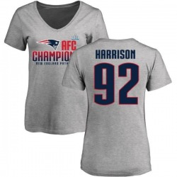 Women's James Harrison New England Patriots 2017 AFC Champions V-Neck T-Shirt - Heather Gray