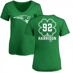 Women's James Harrison New England Patriots Green St. Patrick's Day Name & Number V-Neck T-Shirt