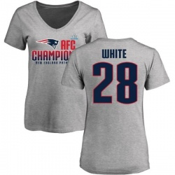 Women's James White New England Patriots 2017 AFC Champions V-Neck T-Shirt - Heather Gray