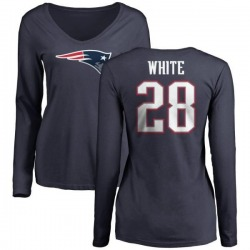 Women's James White New England Patriots Name & Number Logo Slim Fit Long Sleeve T-Shirt - Navy