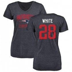 Women's James White New England Patriots Navy Distressed Name & Number Tri-Blend V-Neck T-Shirt