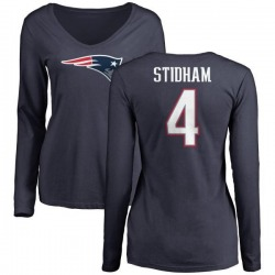 Women's Jarrett Stidham New England Patriots Name & Number Logo Slim Fit Long Sleeve T-Shirt - Navy