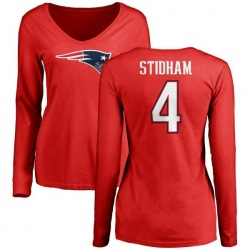Women's Jarrett Stidham New England Patriots Name & Number Logo Slim Fit Long Sleeve T-Shirt - Red