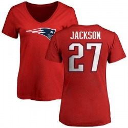 Women's J.C. Jackson New England Patriots Name & Number Logo Slim Fit T-Shirt - Red