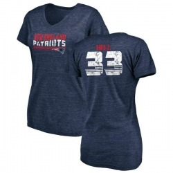 Women's Jeremy Hill New England Patriots Retro Tri-Blend V-Neck T-Shirt - Navy