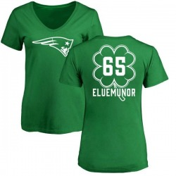 Women's Jermaine Eluemunor New England Patriots Green St. Patrick's Day Name & Number V-Neck T-Shirt