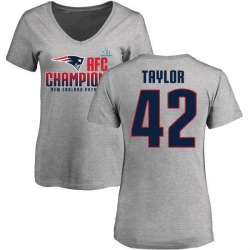 Women's J.J. Taylor New England Patriots 2017 AFC Champions V-Neck T-Shirt - Heather Gray