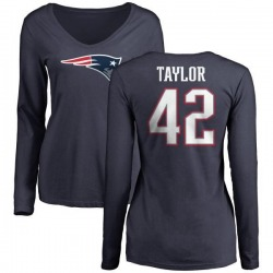 Women's J.J. Taylor New England Patriots Name & Number Logo Slim Fit Long Sleeve T-Shirt - Navy