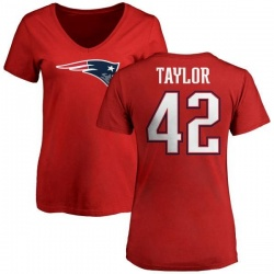 Women's J.J. Taylor New England Patriots Name & Number Logo Slim Fit T-Shirt - Red