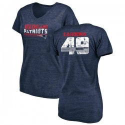 Women's Joe Cardona New England Patriots Retro Tri-Blend V-Neck T-Shirt - Navy