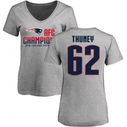 Women's Joe Thuney New England Patriots 2017 AFC Champions V-Neck T-Shirt - Heather Gray