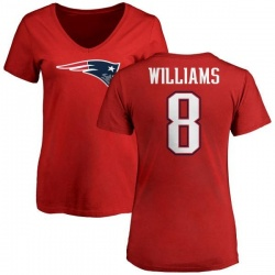 Women's Joejuan Williams New England Patriots Name & Number Logo Slim Fit T-Shirt - Red