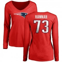 Women's John Hannah New England Patriots Name & Number Logo Slim Fit Long Sleeve T-Shirt - Red