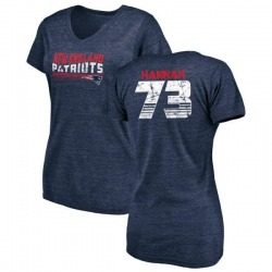 Women's John Hannah New England Patriots Retro Tri-Blend V-Neck T-Shirt - Navy