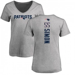 Women's John Simon New England Patriots Backer V-Neck T-Shirt - Ash