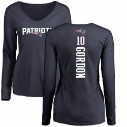 Women's Josh Gordon New England Patriots Backer Slim Fit Long Sleeve T-Shirt - Navy