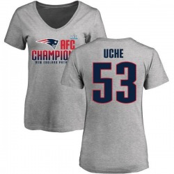 Women's Josh Uche New England Patriots 2017 AFC Champions V-Neck T-Shirt - Heather Gray