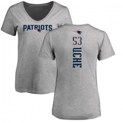 Women's Josh Uche New England Patriots Backer V-Neck T-Shirt - Ash