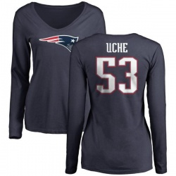 Women's Josh Uche New England Patriots Name & Number Logo Slim Fit Long Sleeve T-Shirt - Navy